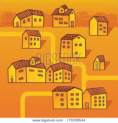 Cute colorful image of toy houses roads and streets in cartoon style. Urban landscape in warm colors. Can be used in presentations and infographics about city life