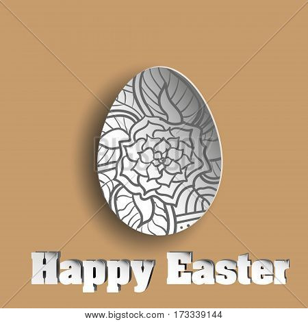 Flower in abstract egg Easter egg with a pattern of dark colors on handmade brown background ethnic flower vector illustration stock background design with shadow