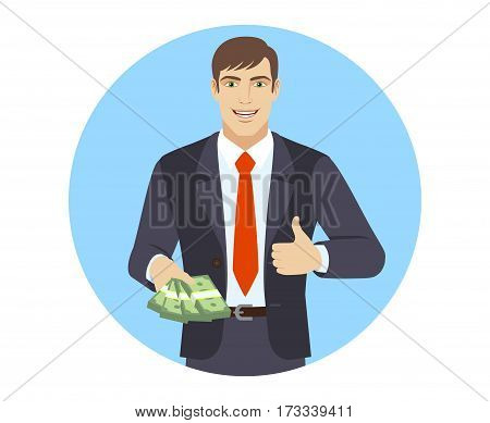 Businessman with money shows thumb up. Portrait of businessman in a flat style. Vector illustration.