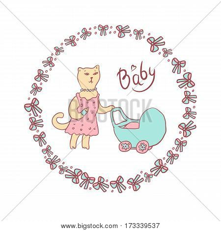 Vector cartoon illustration of a sketch in pastel colors. Mama cat walking with a baby stroller. Round frame with bows and balls
