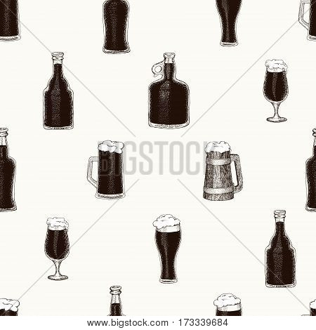 seamless vector pattern with hand drawn beer bottle, beer mug, cup, glass.