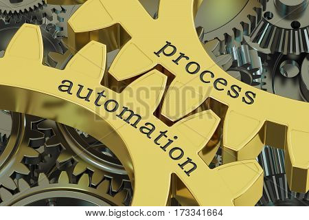 Process Automation concept on the gears 3D rendering