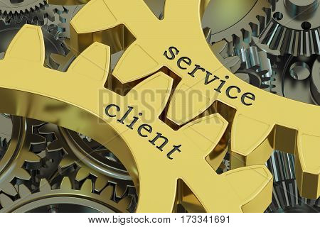 service client concept on the gearwheels 3D rendering
