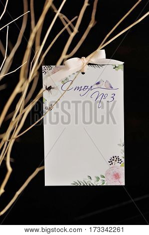 Guest list with small bow, on branch, with dark background, closeup