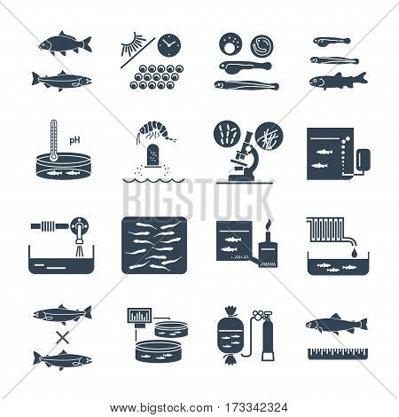 set of black icons aquaculture production process fish farming