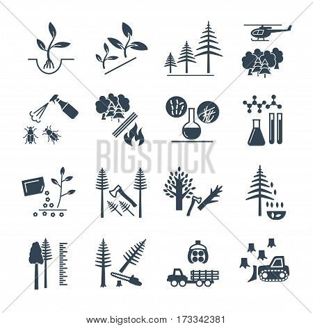 set of black icons forestry and silviculture production process