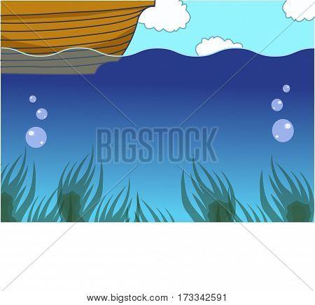 underwater background, undersea life, a boat, seaweed