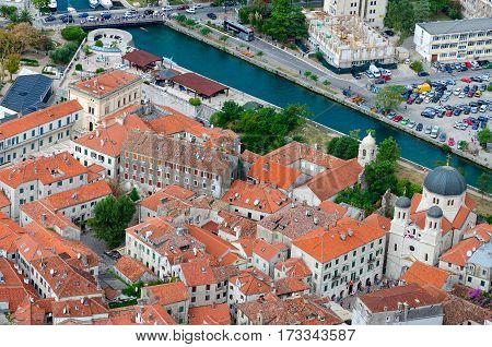 Top view of Old Town Temple of St. Nicholas River Shkurda Kotor Montenegro