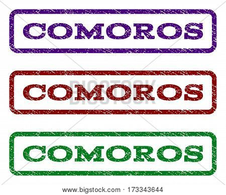 Comoros watermark stamp. Text caption inside rounded rectangle with grunge design style. Vector variants are indigo blue red green ink colors. Rubber seal stamp with unclean texture.