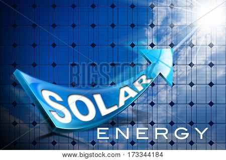 3D Illustration of a blue arrow on a solar panel with sun rays and text Solar Energy