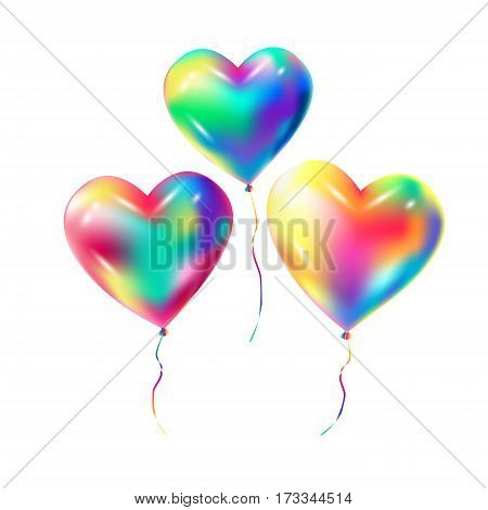 Heart balloons isolated on white transparent background. Colorful balloon for Birthday, Holiday, Christmas, Carnival festive decoration. Three balloons flying. Balloons Vector illustration