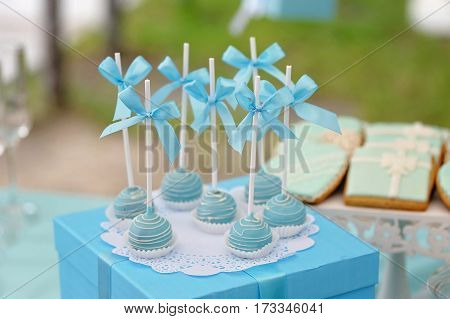 Delicious sweet candies, decorated in wedding style with bows and colored custard