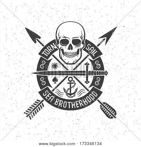 Hipster retro logo with a pirate skull arrows round banner and anchor. Grunge texture on separate layers and can be easily disabled.