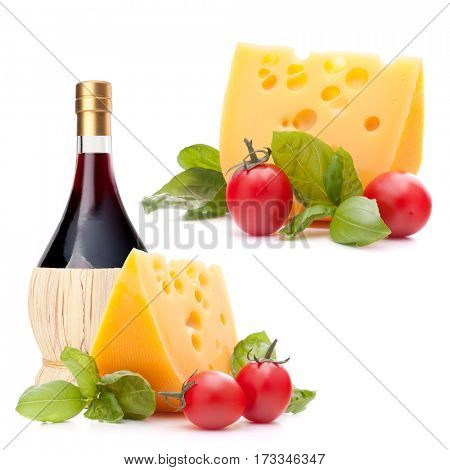 Red wine bottle, cheese and basil leave still life isolated on white background cutout. Italian food concept.