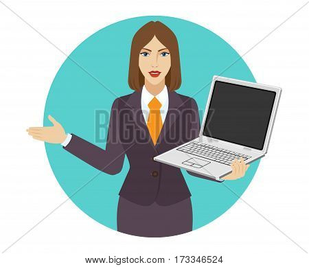 Welcome! Businesswoman holding a laptop notebook and shows something beside of him. Portrait of businesswoman in a flat style. Vector illustration.