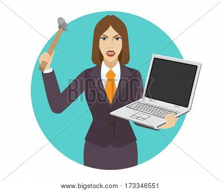 Businesswoman trying to break a laptop notebook with a hammer. Portrait of businesswoman in a flat style. Vector illustration.