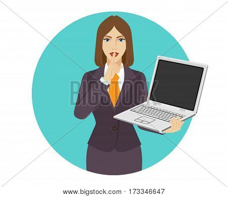 Hush hush. Businesswoman holding a laptop notebook and making hush sign. Portrait of businesswoman in a flat style. Vector illustration.