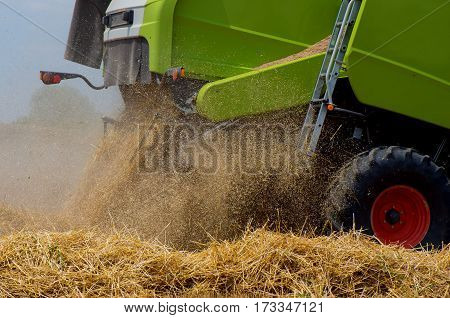 Harvest. Combine working on a wheat field.