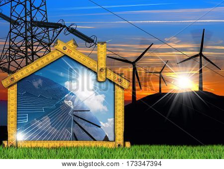 Wooden ruler in the shape of a house with a solar panel power line and a 3D illustration of a group of wind turbines. Concept of ecological house project