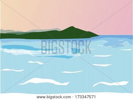 blue sea, green island, pink sunset, foamy waves