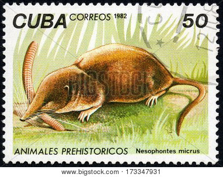 UKRAINE - CIRCA 2017: A stamp printed in Cuba shows a extinct animal Nesophontes micrus the series Prehistoric animals circa 1982