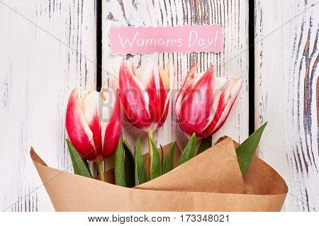 Tulips on natural background. Congratulation for someone important.