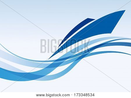 Vector background speedboat and sea in blue