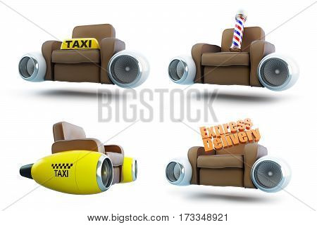 air leather armchair set on a white background 3D illustration