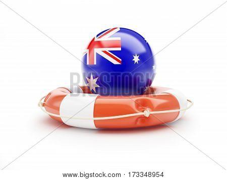 Lifebelt with Australia flag help on a white background 3D illustration