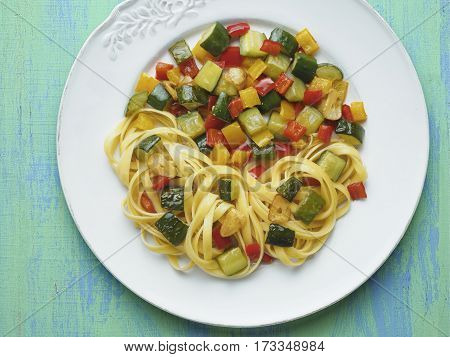 close up of rustic healthy italian pasta primavera