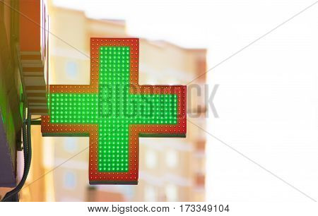 Green Cross Pharmacy in city concept of health life style do not be sick not buy medicines be