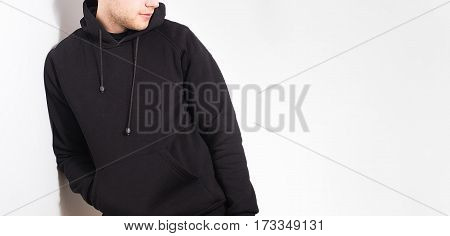 The Guy In The Blank Black Hoodie, Sweatshirt, Stand, Smiling On A White Background, Mock Up, Free S