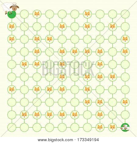 children's maze game find a way to help lamb vector illustration