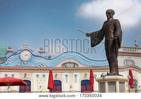 VIENNA AUSTRIA - AUGUST 17 2012: View of Statue inside the entrance to the Prater magician Basilio Calafati in the Prater amusement park in Vienna Austria on August 17 2012.