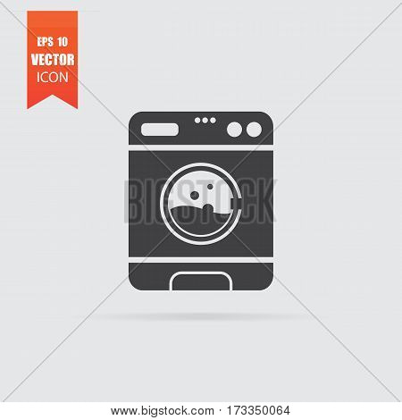 Washer Icon In Flat Style Isolated On Grey Background.