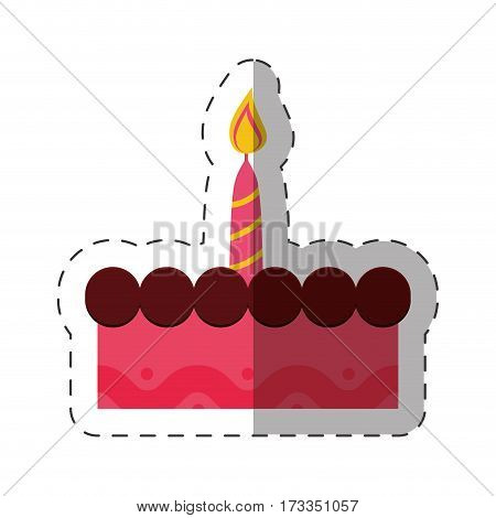birthday cake sweet candle celebration vector illustration eps 10