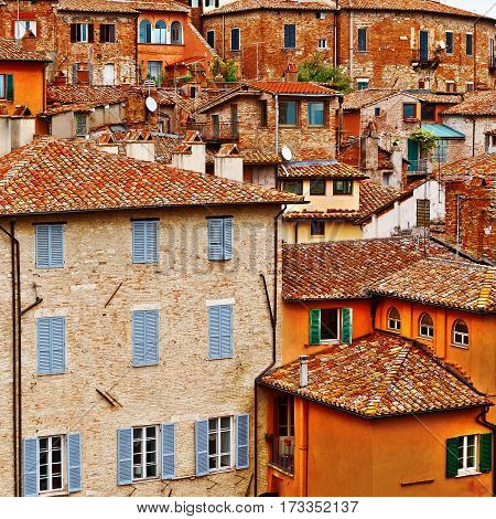 View to Historic Center of the City of Perugia in Italy