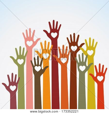 Warm  colors bright colorful caring up hands hearts vector logo design element on sky background. Volunteers hands up with heart emblem icon for education, health care, medical, volunteer, vote.