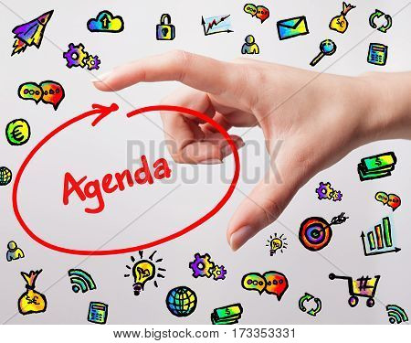 Technology, Internet, Business And Marketing. Young Business Woman Writing Word: Agenda