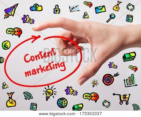 Technology, Internet, Business And Marketing. Young Business Woman Writing Word: Content Marketing