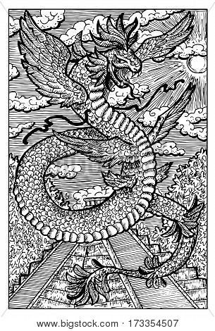 Quetzalcoatl, feathered serpent, ancient aztec god. Hand drawn vector illustration. Engraved line art drawing, black and white doodle.