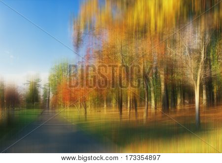 Autumn in the park. Kissena Park Queens NYC. - blurred