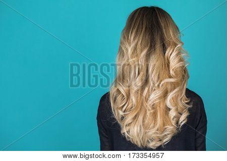 Female Long wavy blonde hair, rear view