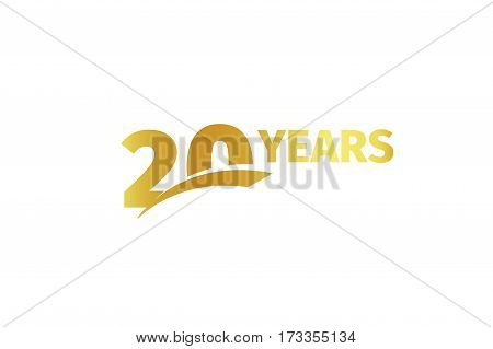 Isolated golden color number 20 with word years icon on white background, birthday anniversary greeting card element vector illustration