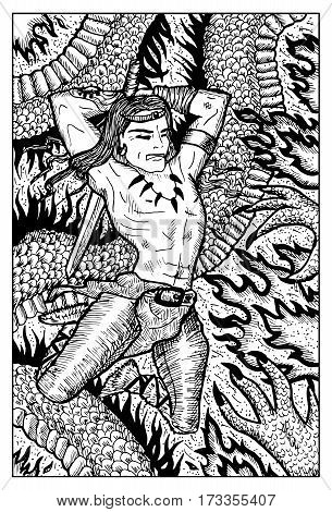 Conan warrior barbarian fighting the dragon beast. Hand drawn vector illustration. Engraved line art drawing, black and white doodle.
