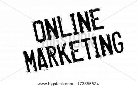 Online Marketing rubber stamp. Grunge design with dust scratches. Effects can be easily removed for a clean, crisp look. Color is easily changed.