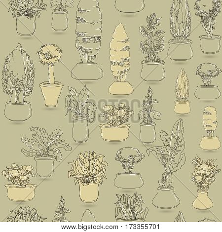 Seamless pattern with  black doodle house plants in ceramic pots on taupe background. Vector floral background.