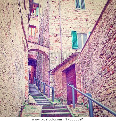 Staircase of the Narrow Street with Old Buildings in the Medieval Italian City Instagram Effect