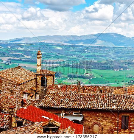 Aerial View of the Italian Medieval City and Surrounding Tuscan Landscape