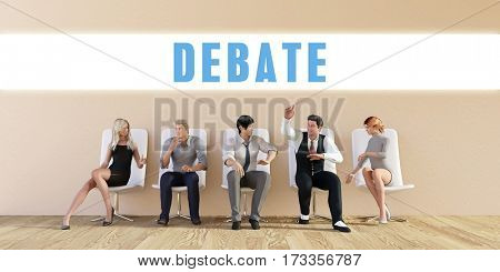 Business Debate Being Discussed in a Group Meeting 3D Illustration Render